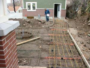 heated sidewalk install